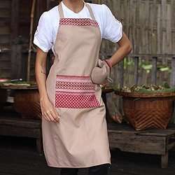 Cotton 'Kitchen Style' Apron and Oven Mitt (Thailand)