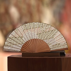 Handcrafted Silk and Pinewood 'Feminine' Batik Fan (Indonesia)