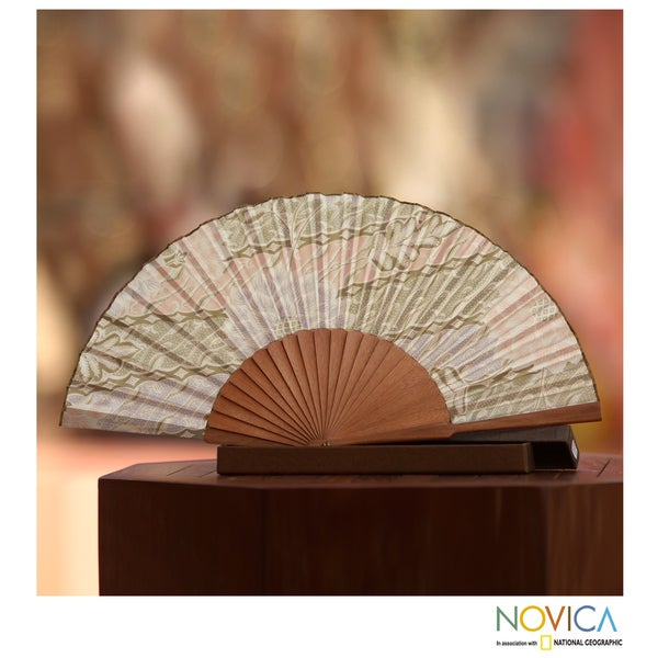 Handmade Silk and Pinewood 'Feminine' Batik Fan (Indonesia)