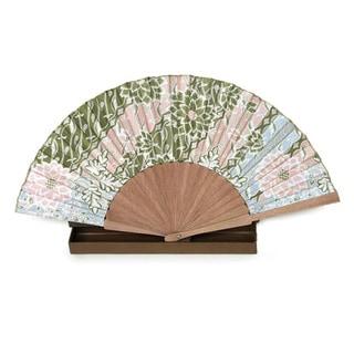 Handmade Silk and Pinewood 'Feminine' Batik Fan (Indonesia)
