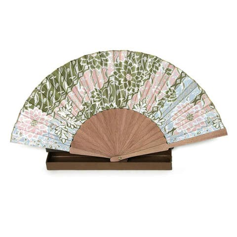 Handmade Silk and Pinewood Feminine Batik Fan (Indonesia)