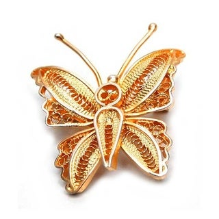 Handmade Gold Overlay 'Wings' Brooch (Peru)