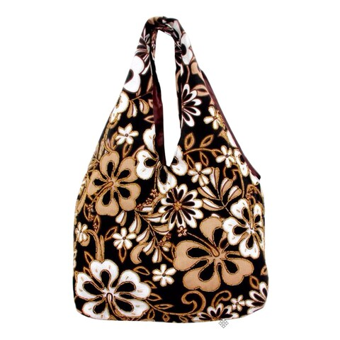 Handmade Cotton 'Tropical Bouquet' Beaded Large Shoulder Bag (Indonesia)