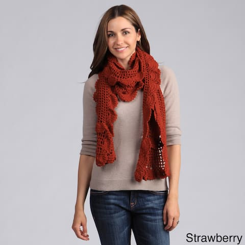 Saro Women's Ruffled Crochet Design Scarf