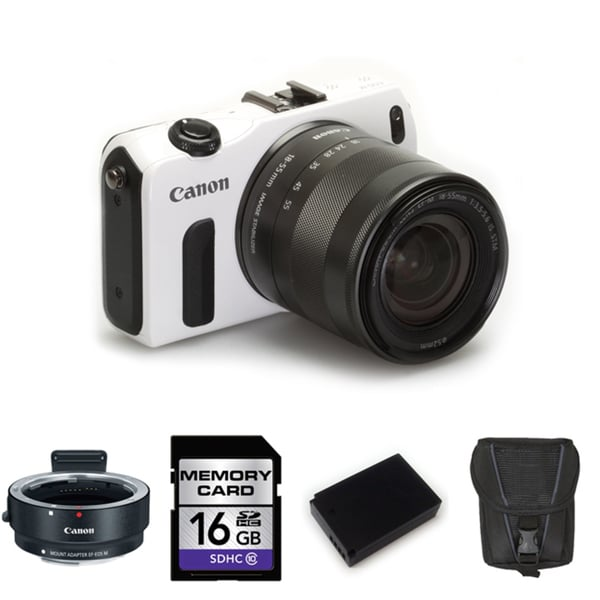 Canon EOS-M 18MP Mirrorless Digital Camera with 18-55mm IS STM Lens and 16GB Bundle