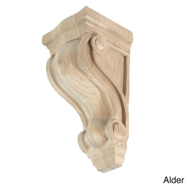 Hand-carved Unfinished Solid Hardwood Corbel