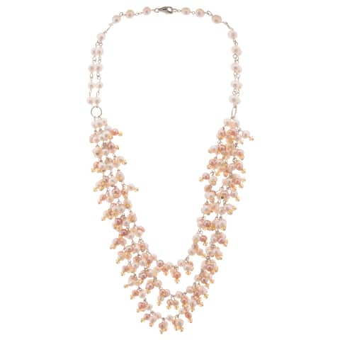 Pearlyta Gold over Silver Cultured Pearl Multi-row Bib Necklace (5-6 mm) - Pink/White