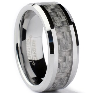 Tungsten Carbide Men's Grey Carbon Fiber Inlay Ring (8 mm)