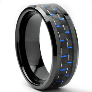 Oliveti Tungsten Carbide Men's Black and Blue Carbon Fiber Inlay Ring (8 mm)