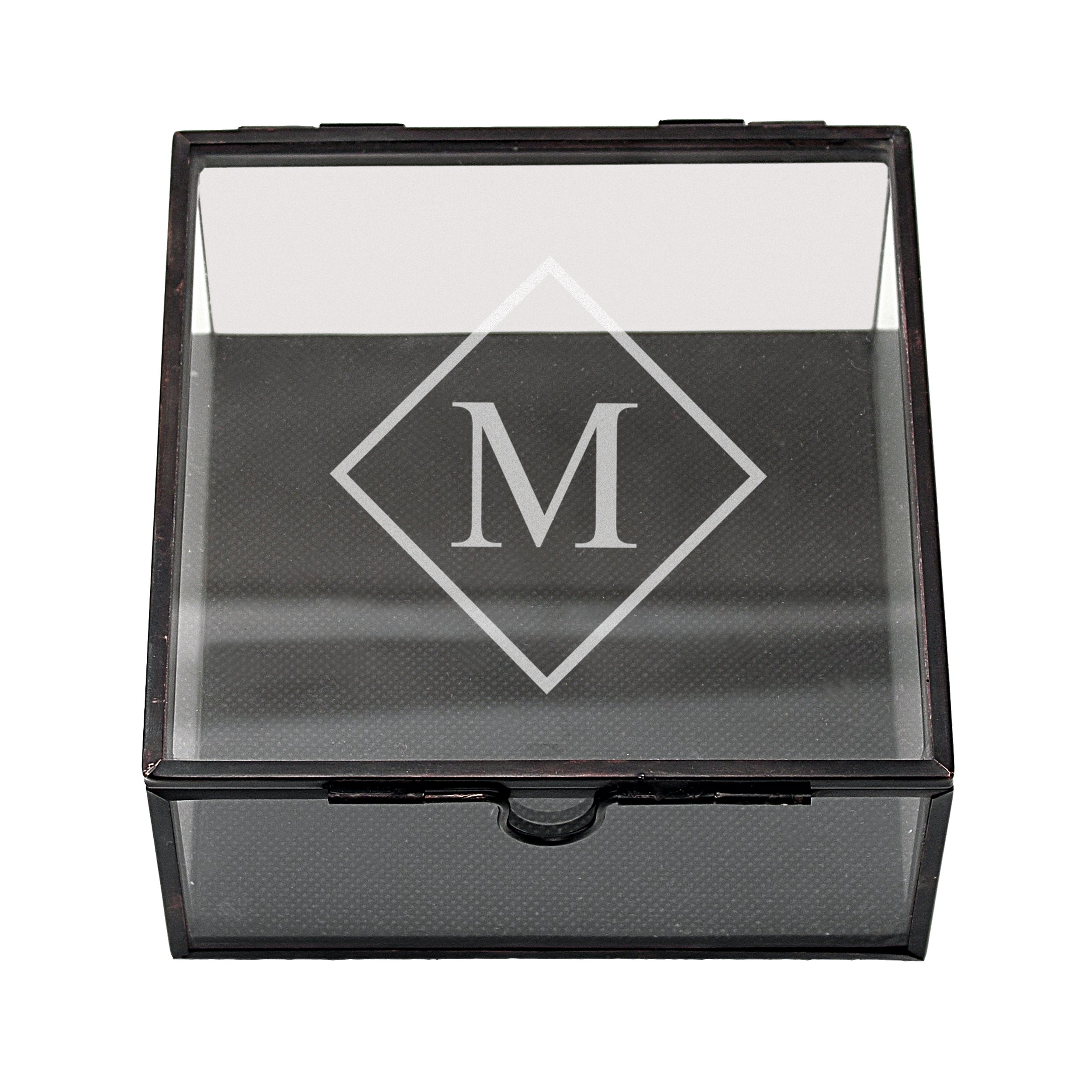 Cathy's Concepts Personalized Square Glass Jewelry Box (B...