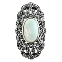 Dallas Prince Sterling Silver Mother of Pearl and Marcasite Ring