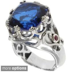 Dallas Prince Silver Green Amethyst or Blue Quartz and Ruby Ring