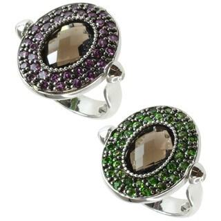 Dallas Prince Silver Quartz, Rhodolite and Chrome Diopside Ring/ Pendant