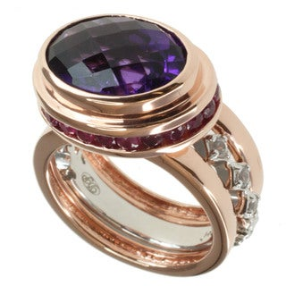 Dallas Prince Two-tone Amethyst, Ruby and White Sapphire Ring Set