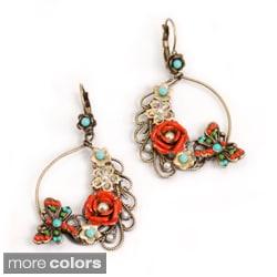 Sweet Romance Dragonfly and Flower Hoop Earrings