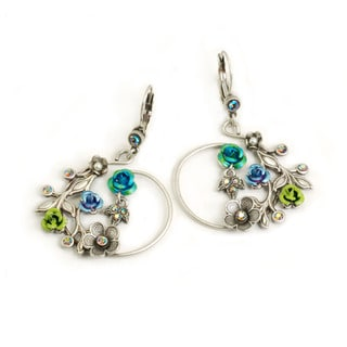 Sweet Romance Silvertone Glass and Crystal Winding Roses Earrings