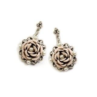 Sweet Romance Ivory Enamel Rose Silver Dangle Earrings