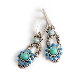 Sweet Romance Silvertone Turquoise Glass and Blue Enamel Oval Earrings