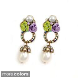 Sweet Romance Rose Cluster Loop Earrings