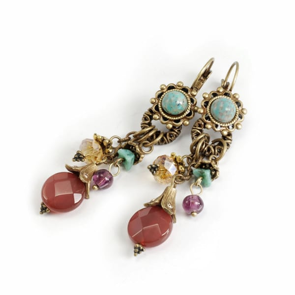 Sweet Romance Rustic Southwest Turquose and Carnelian Earrings