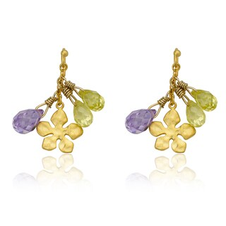 Little Miss Twin Stars Children's Vermeil Flower Dangle Earrings