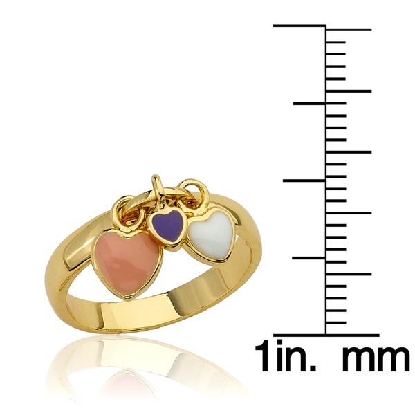 Little Miss Twin Stars I Love My Jewels 14k Gold-Plated Multi Color Heart Charm Ring//Brass