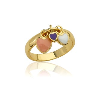 Little Miss Twin Stars Vermeil Multi Color Enamel Heart Charm Ring