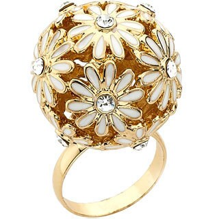 Riccova Color-plated Enamel and Crystal Flower Ball Ring
