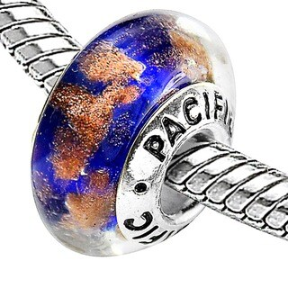 Sterling Silver 'Sandy Beach' Murano-style Glass Bead