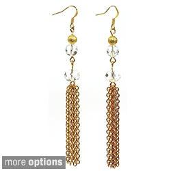 Pretty Little Style Goldtone Glass Tassel Earrings