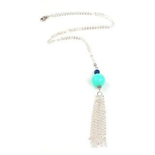 Pretty Little Style Silvertone Agate Tassel Necklace