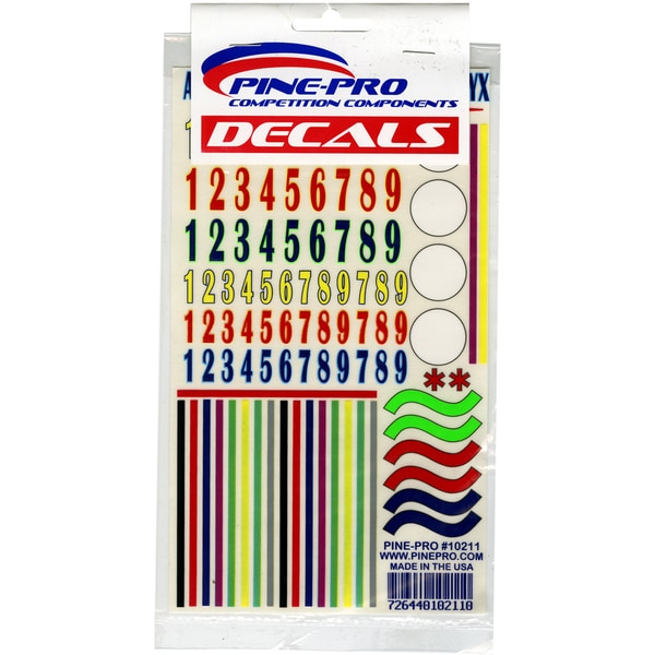 Pinepro Pine Car Derby Numbers and Stripes Decal