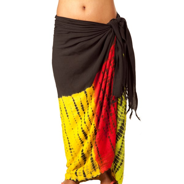 Handmade Rasta Red and Yellow Tie Dye Sarong (India)