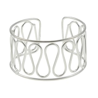Handcrafted Silver Plated Ribbon Wave Cuff Bracelet (India)