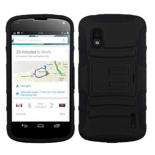 INSTEN Black/ Black Armor Stand Phone Case Cover for LG E960 Nexus 4