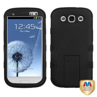 INSTEN Black/ Black TUFF Hybrid Phone Case Cover for Samsung Galaxy S III/ S3
