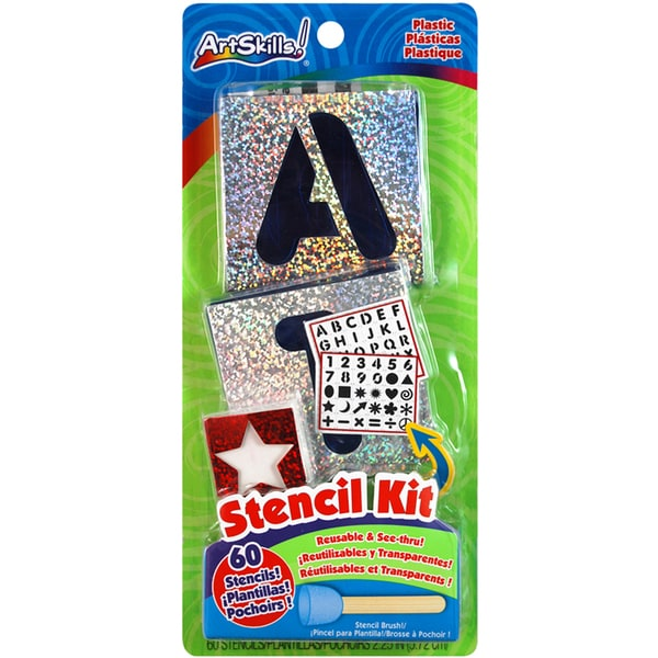 Letters, Numbers & Shapes Stencil Kit-60 Reusable Stencils
