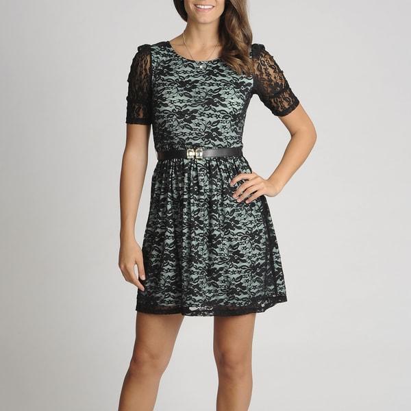 A. Byer Women's Juniors Mint Lace Overlay Dress