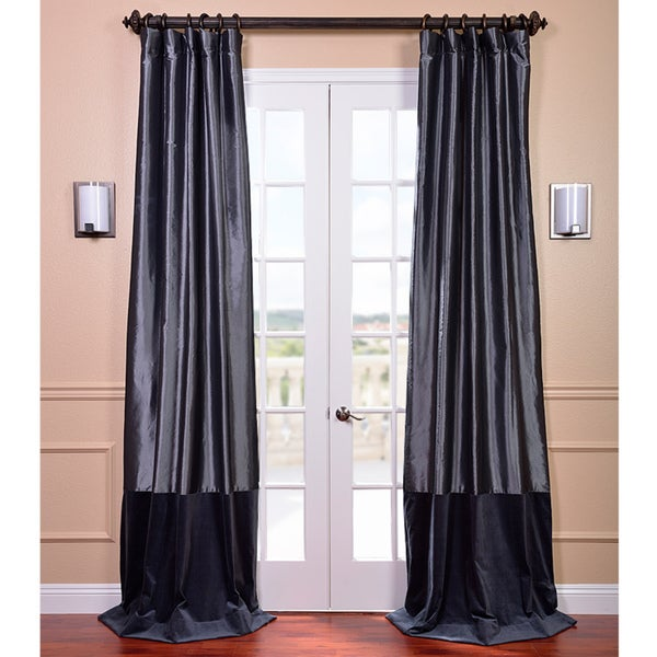 Exclusive Fabrics Banded Faux Silk Graphite & Blue Velvet Curtain Panel