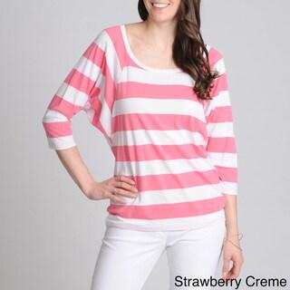 Grace Elements Women's Striped Dolman Sleeve Top