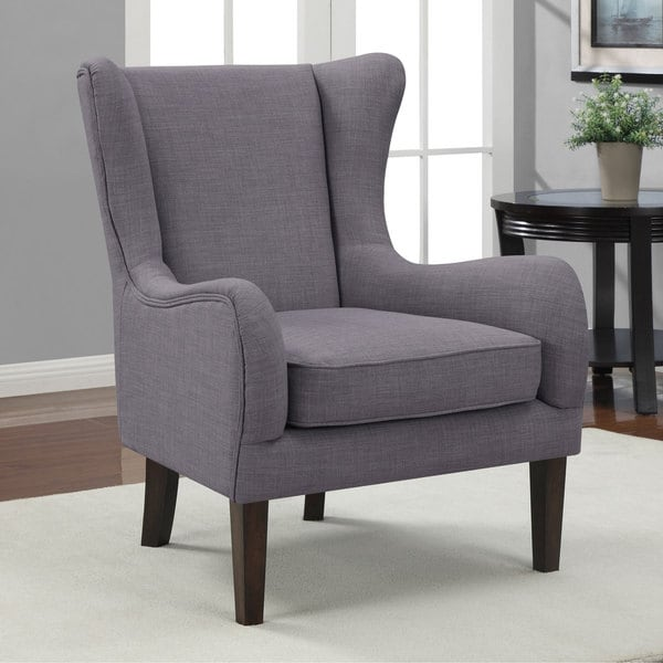 Curved Wing Upholstered Chair Grey Free Shipping Today
