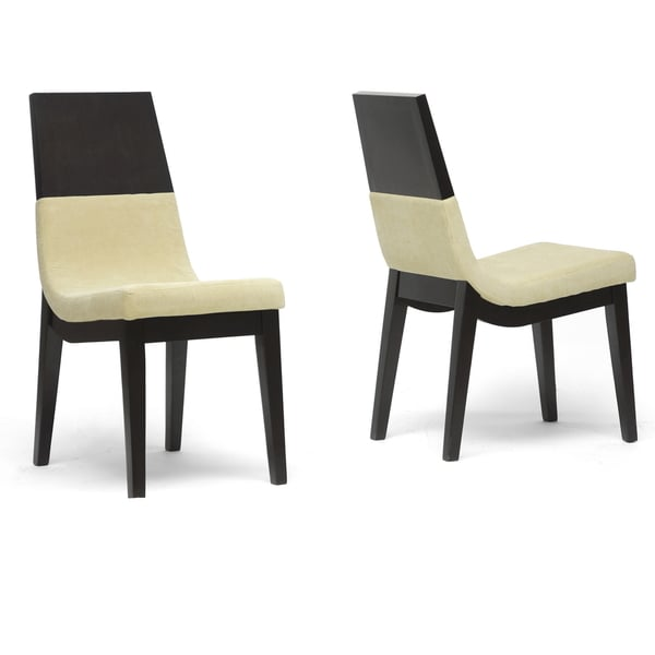Baxton Studio Prezna Dark Brown/ Beige Modern Dining Chairs (Set of 2)