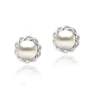 Glitzy Rocks Sterling Silver FW Pearl Braided Circle Earrings (8 mm)