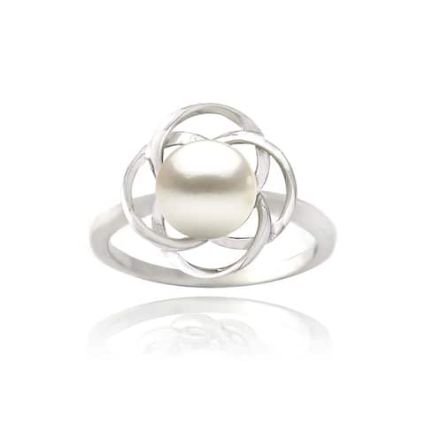 Glitzy Rocks Sterling Silver Freshwater Pearl Flower Ring (8 mm)