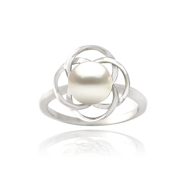 Glitzy Rocks Sterling Silver Freshwater Pearl Flower Ring (8 mm)