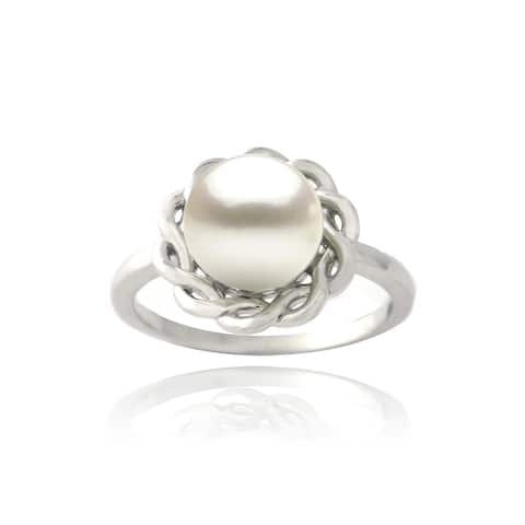 Glitzy Rocks Sterling Silver Freshwater Pearl Braided Circle Ring (8 mm)