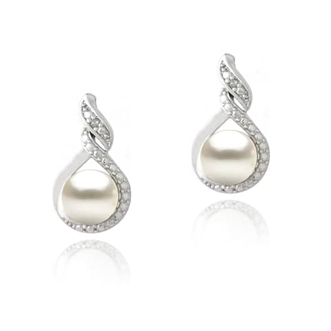 Glitzy Rocks Silver FW Pearl and Diamond Accent Swirl Infinity Earrings (7 mm)