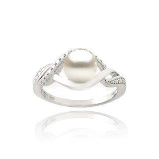 Sterling Silver Freshwater Pearl and Diamond Accent Swirl Ring (7 mm) (5 options available)