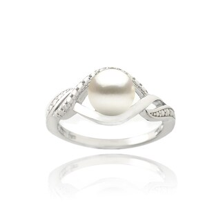 Sterling Silver Freshwater Pearl and Diamond Accent Swirl Ring (7 mm)