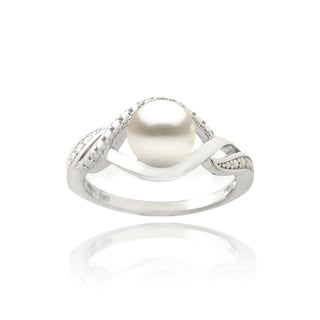 Sterling Silver Freshwater Pearl and Diamond Accent Swirl Ring (7 mm) (4 options available)